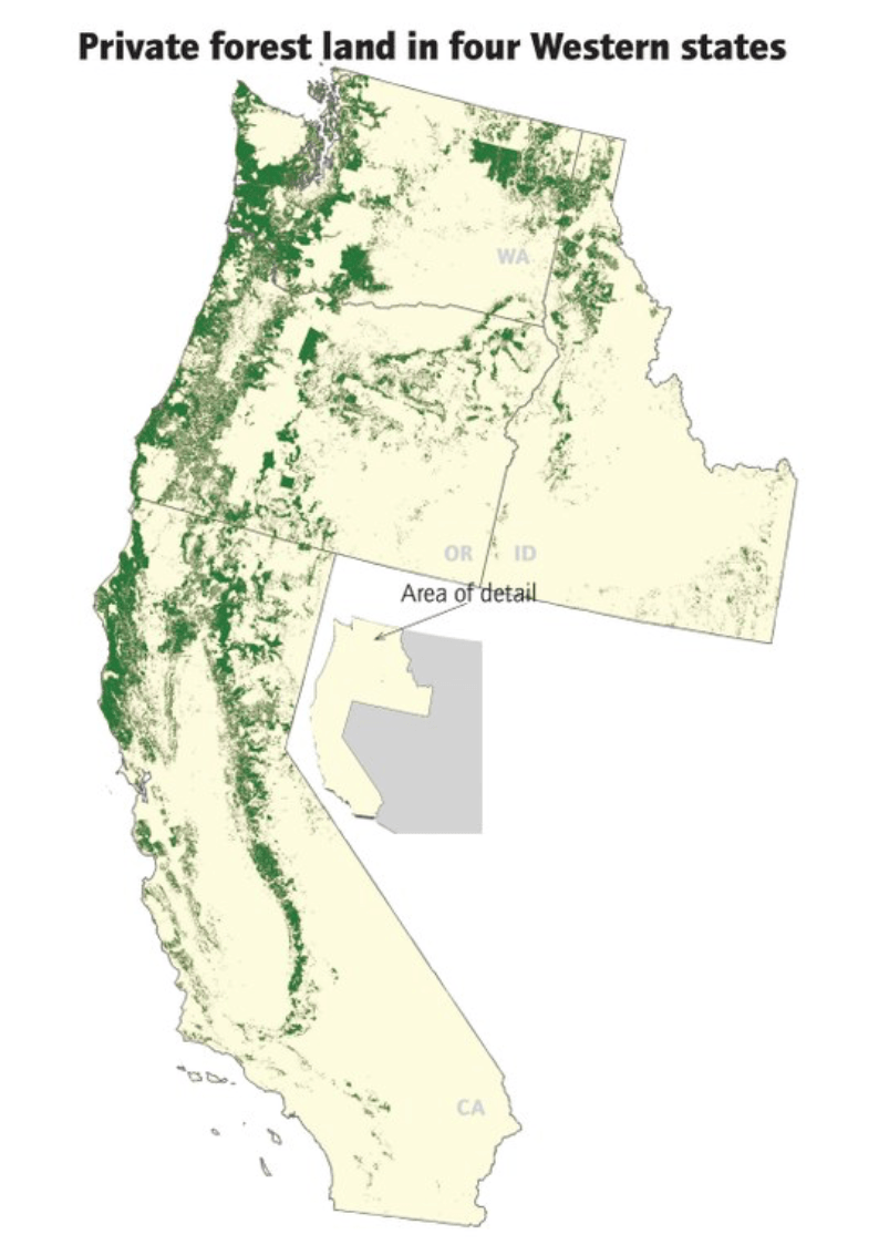 Private Forest Land in 4 Western states