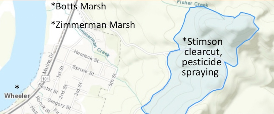 Map of Stimson Clearcut Pesticide Spraying